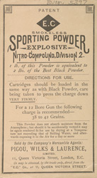 Advert for Smokeless sporting powder